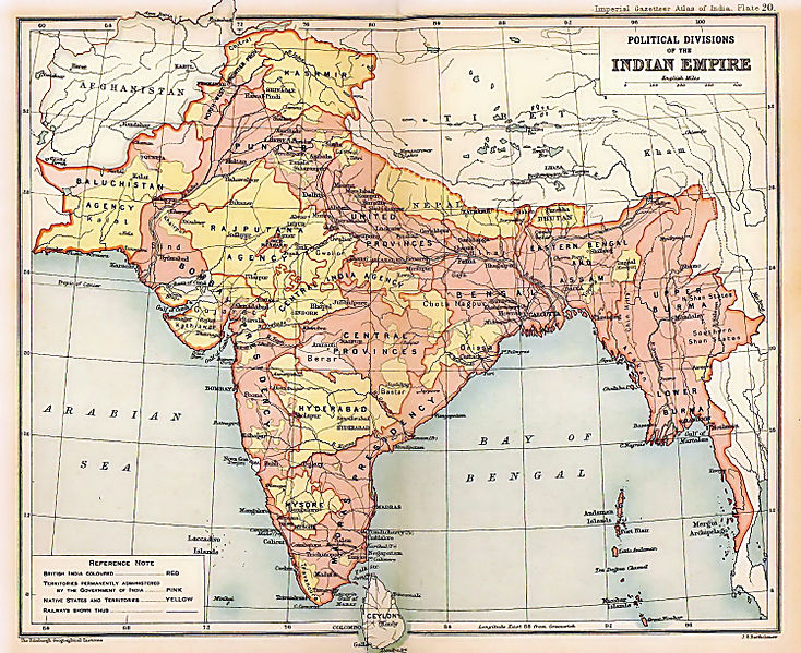 The British Indian Empire, as mapped in the Imperial Gazetter of India, 1909