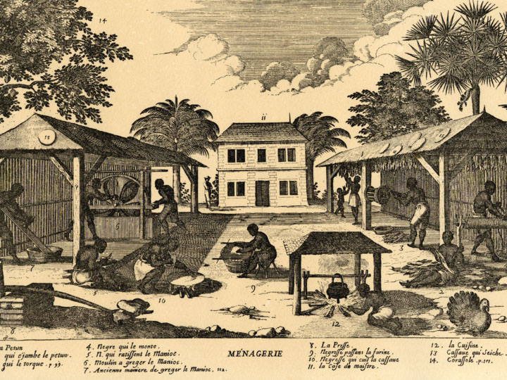 Woodcut engraving of a plantation in the early years of Saint-Domingue
