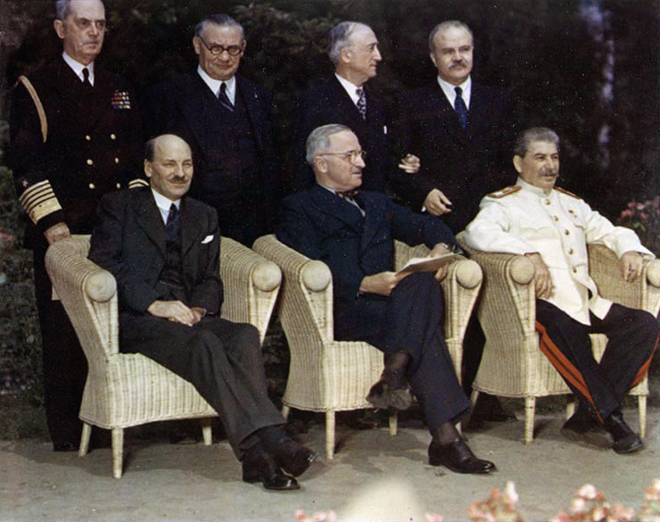 British Prime Minister Clement Atlee, President Harry Truman, Soviet Premier Josef Stalin in Potsdam, Germany, 1945.