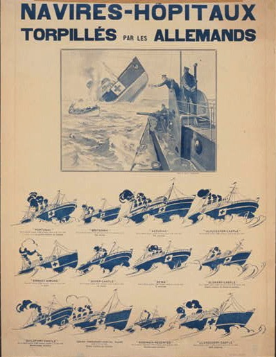 French war poster depicting hospital ships sunk by German u-boats, 1918
