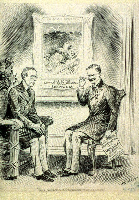 """Well, what are you going to do about it?,"" political cartoon by R.A. Allen depicting Woodrow Wilson and German Ambassador Johann von Bernstorff (date unknown, believed to be 1915)."