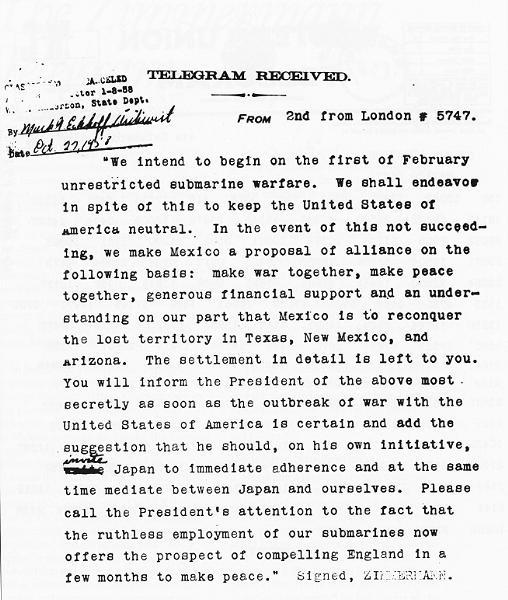 The Zimmermann telegram, decrypted and translated