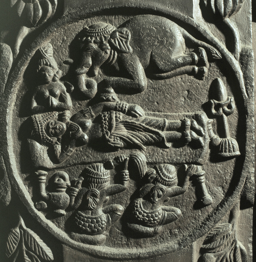 Relief of Queen Maya's Dream. From the Sunga Period (2nd century AD). Stupa de Bharhut. Sculpture. Calcutta. Indian Museum.