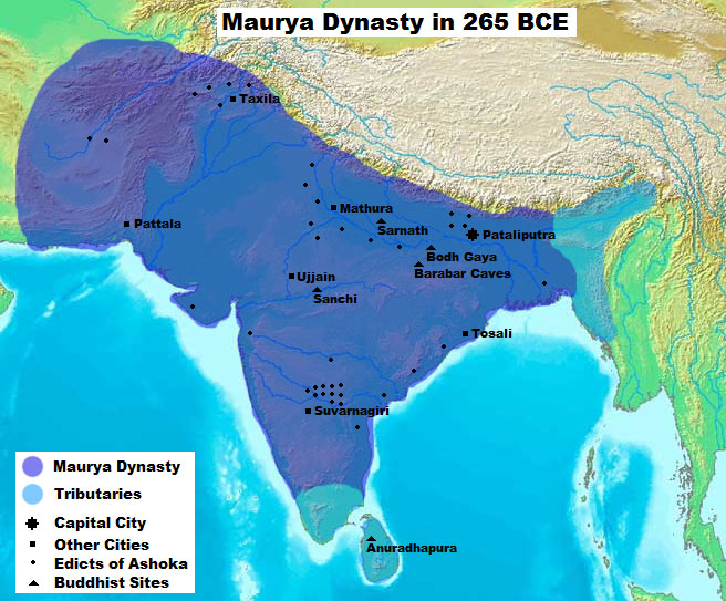 A map of the Maurya Dynasty at its height in 265 BC, showing major ciies, early Buddhist sites, Ashokan Edicts, etc.