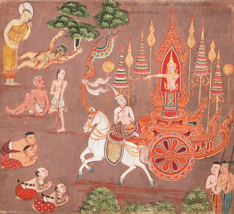 Miniature of the young Prince Siddharta, encountering suffering. (Thailand, 1776).
