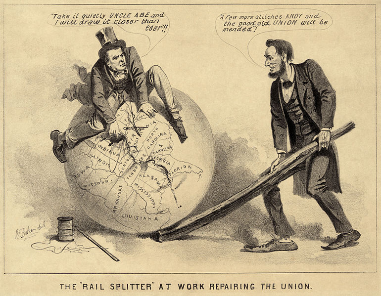 """The Rail Splitter Repairing the Union"" — a political cartoon of Andrew Johnson and Abraham Lincoln from 1865, during the Reconstruction era of the United States (1863–1877). Cartoon print shows Vice President Andrew Johnson sitting atop a globe, attempting to stitch together the map of the United States with needle and thread. Abraham Lincoln stands, right, using a split rail to position the globe. Johnson warns, ""Take it quietly Uncle Abe and I will draw it closer than ever."" While Lincoln commends him, ""A few more stitches Andy and the good old Union will be mended."""