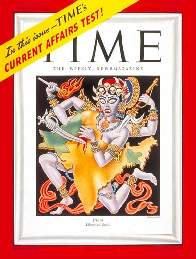 TIME Magazine October 27 1947 cover featuring an illustration by Boris Artzybasheff representing the Partition of India.