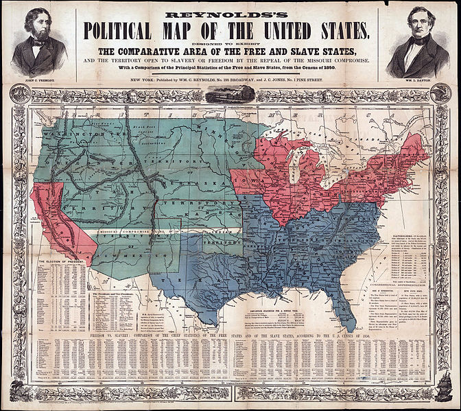 Designed to exhibit the comparative area of the free and slave states and the territory open to slavery or freedom by the repeal of the Missouri compromise. With a comparison of the principal statistics of the free and slave states, from the census of 1850.