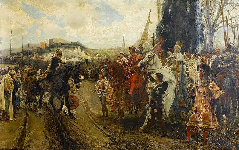 The Capitulation of Granada, by Francisco Pradilla y Ortiz: Boabdil (Mohammad XII, the last Emir of Granada) hands over possession to Ferdinand and Isabella. 1882