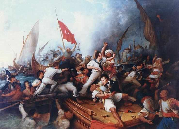 Artistic rendition of the newly formed U.S. Navy putting down piracy during the Barbary Wars (artist and date unknown)