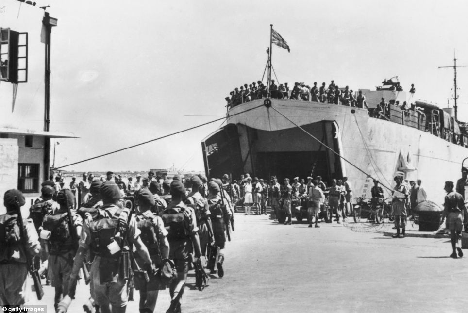 British troops depart from the port of Haifa in June 1948.
