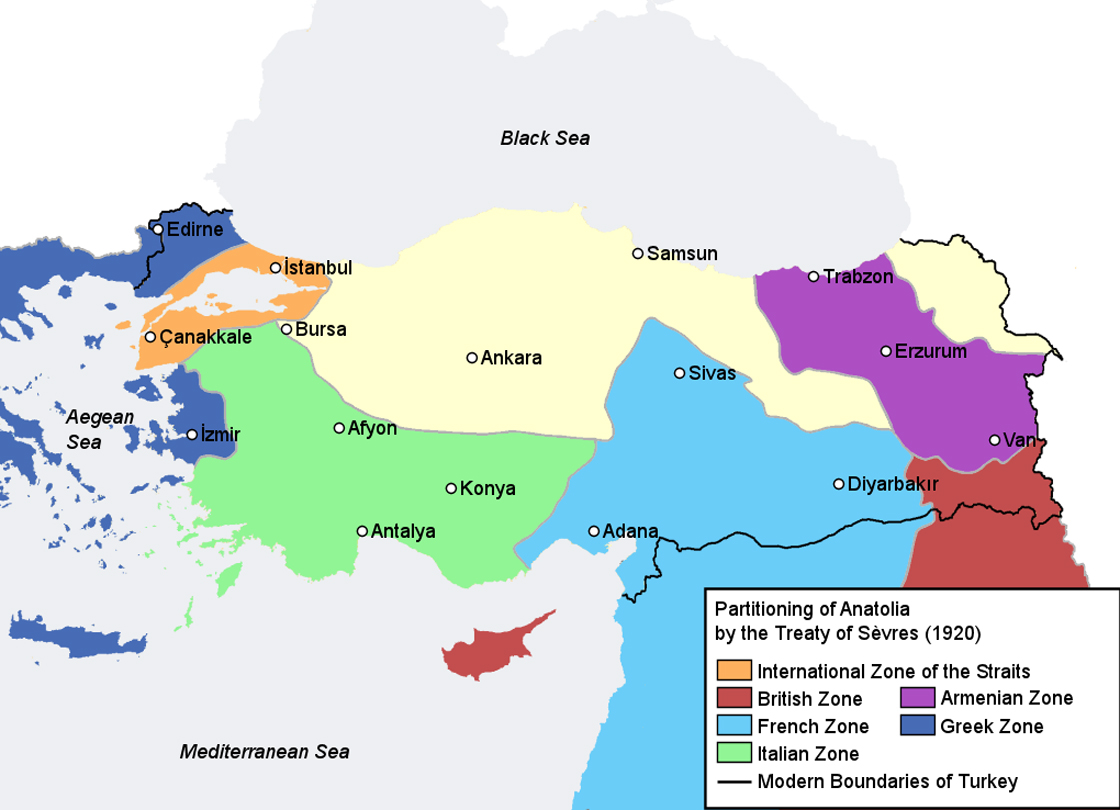 According to the terms of the Treaty of Sevres, the Anatolian province of the Ottoman Empire would have been partitioned as above (the light yellow area was to be the new Turkish nation).