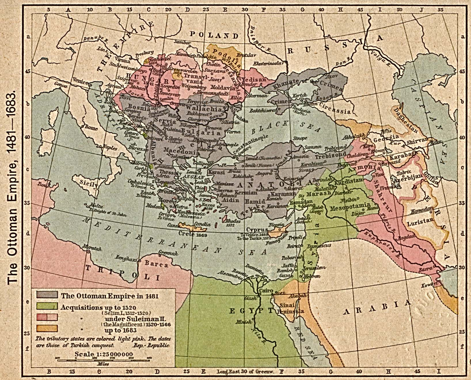 The Ottoman Empire at the height of its expansion (1481-1683). The Historical Atlas by William R. Shepherd, 1923. (Perry-Castañeda Library Map Collection).