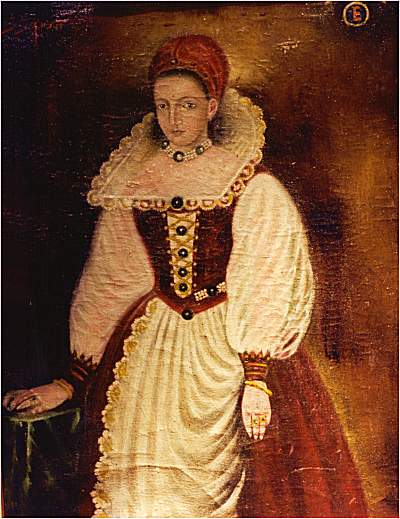 A contemporary copy of that original portrait of Elizabeth Báthory (1585), probably painted in the late 16th century. She was 25 when the original portrait -- the only known image of her -- was painted.