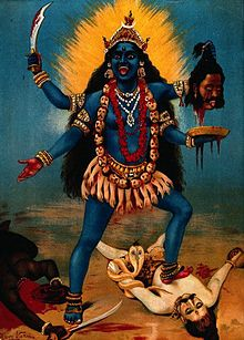 The Indian goddess Kali. Painting by Raja Ravi Varma.