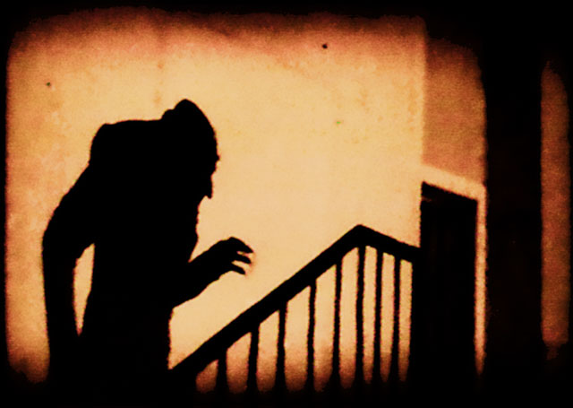 A still image from the 1922 film Nosferatu, probably one of the most influential portrayals of the vampire character in the 20th century.