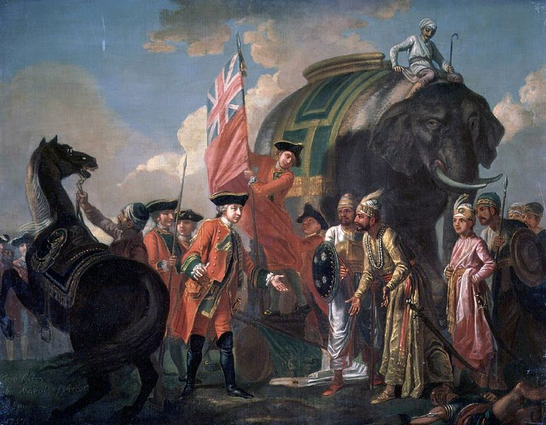 Robert Clive, the Governor General of the British East India Company, meeting with Bengalese leader Mir Jafar, 1760 (Wikimedia Commons)