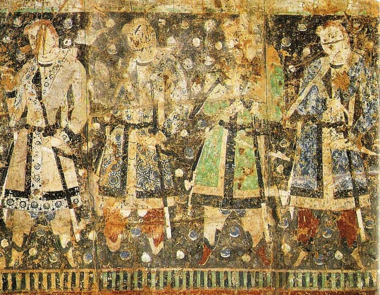 "Wall painting of ""Tocharian Princes"" from Cave of the Sixteen Sword-Bearers (no. 8), Qizil, Tarim Basin, Xinjiang, China. Carbon 14 date: 432–538 AD. Original in Museum für Indische Kunst, Berlin."