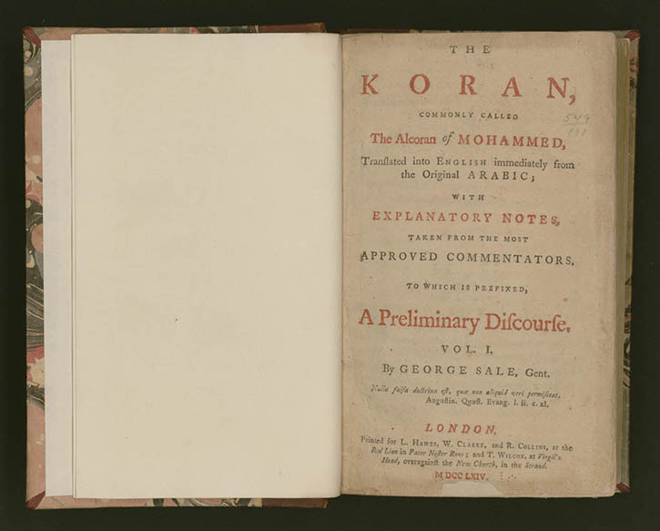 Thomas Jefferson's copy of the Qur'an, published in 1764. (courtesy of the Library of Congress).