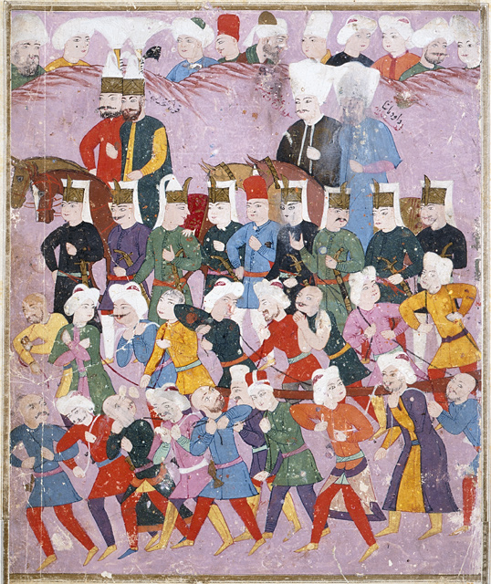 Sultan Osman II marching his army toward Hotin fortress for what would become known as one of the biggest military failures in Ottoman history. A lack of food supplies for the Ottoman army, along with the harsh winter weather, were believed to be directly responsible for the Ottoman defeat and Osman's eventual murder.