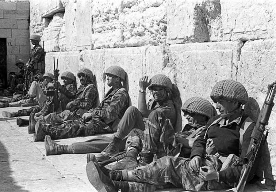 Israeli Soldiers against the Western, or Wailing, Wall during the Six Day War of 1967, which had previously been off limits due to its proximity to the Jordanian cease fire line. Israel's swift and decisive victory in 1967 changed the tenor of its relations with Iran and sent a collective shock wave through much of the Middle East.