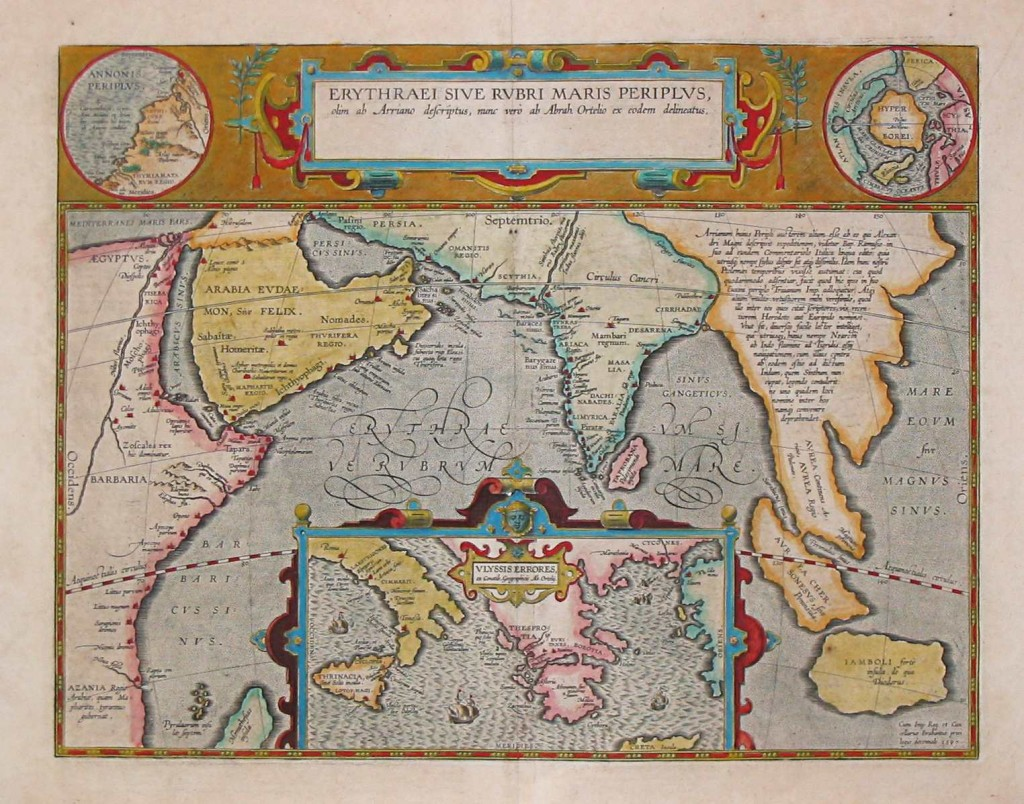 "Map by Abraham Ortelius, (1527-1598) of locations mentioned in the Periplus Maris Erythraei (????????? ??? ??????? ???????? ""Periplus of the Erythraean Sea""), 2nd century CE mariner's guide describing navigation and the commodities available in the Red Sea (or Erythraean Sea in Greek) and along the coasts of Arabia and India."