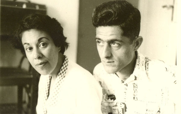 Jalal Al-e Ahmad (r) with his wife, writer and intellectual Simin Daneshvar, in an undated photograph (probably from the early 1960s).