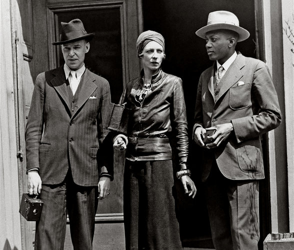 The British shipping heiress Nancy Cunard, circa 1932, with John Banting, left, a painter, and Taylor Gordon, a writer.