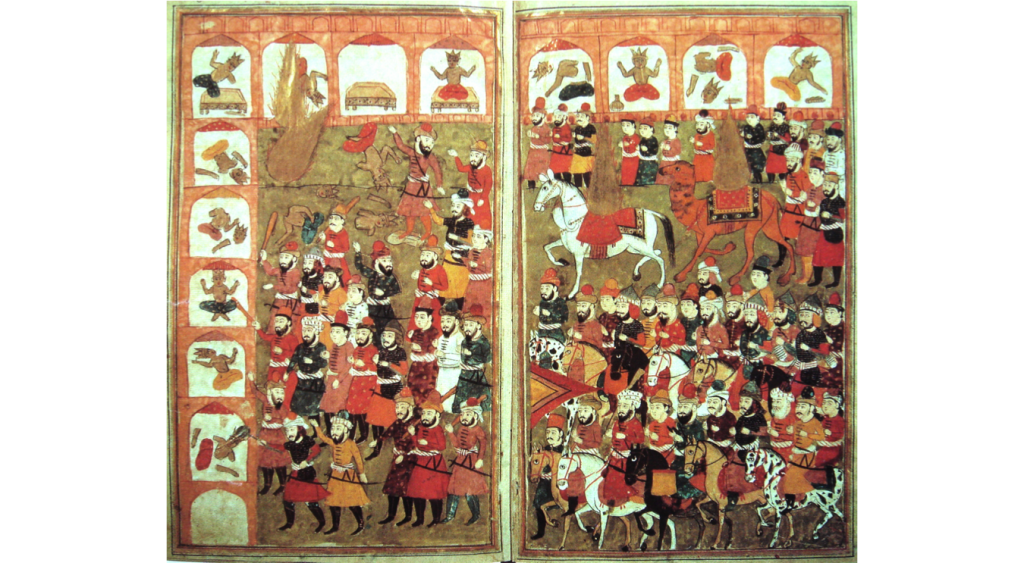 The conquest of Mecca by Muhammad's armies in 630 (seen here in a miniature held by the Bibliothèque Nationale de France). Following Islamic tradition, Muhammad is depicted as a pillar of flame riding a camel toward the top right of the panel.