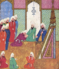 Persian miniature depicting courtiers pledging allegiance to Abu Bakr as leader of the community after Muhammad's death.