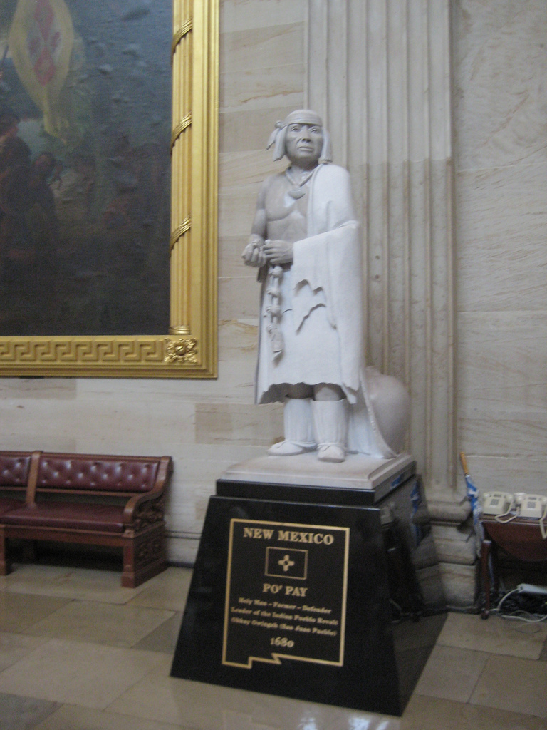 "Statue of Popé, or Po'Pay, now in the National Statuary Hall Collection in the US Capitol Building as one of New Mexico's two statues. (image: ""The Capitol - Po' Pay"" by dougward)"
