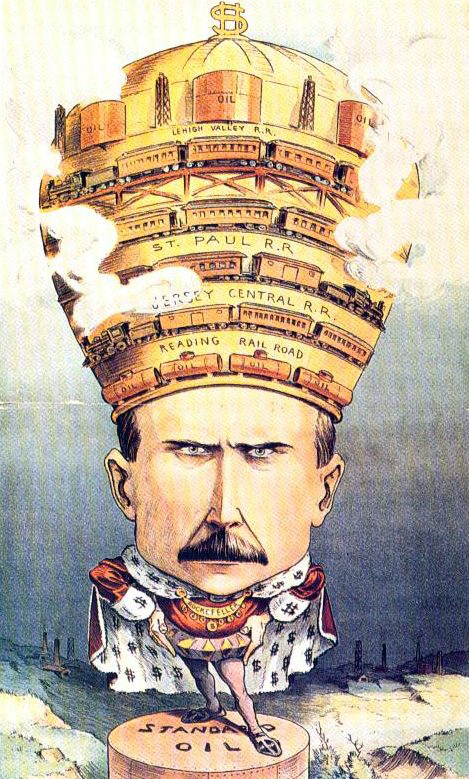 Rockefeller as an industrial emperor, 1901 cartoon from Puck magazine