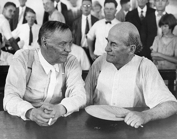 Photo taken of Clarence Darrow (left) and William Jennings Bryan (right) during the Scopes Trial in 1925.