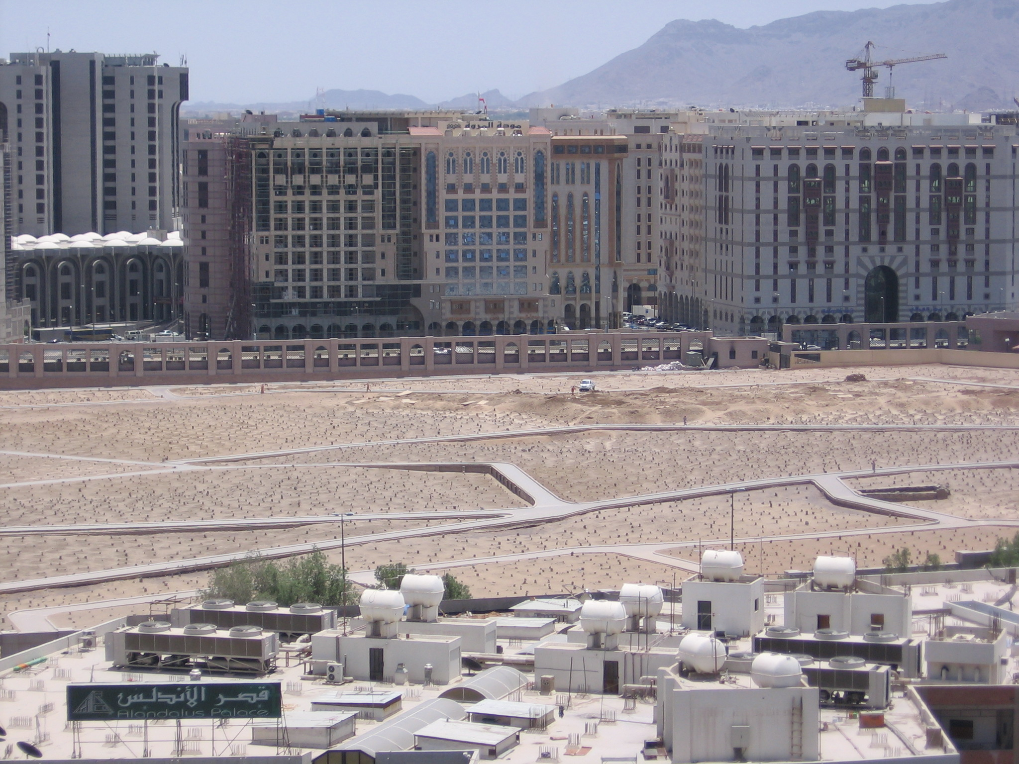 The Cemetery of Jannat al-Baqi in Medina, Saudi Arabia. The mausoleums were leveled after Medina was conquered by Saudis in 1926 (Wikimedia Commons, User: Mardetanha)