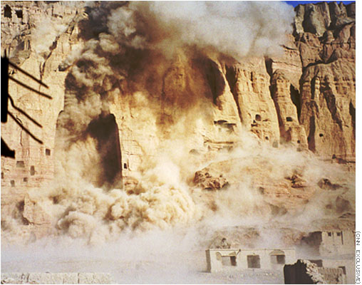 Image of explosive destruction of Bamyan buddhas by the Taliban, March 21, 2001. (CNN.)