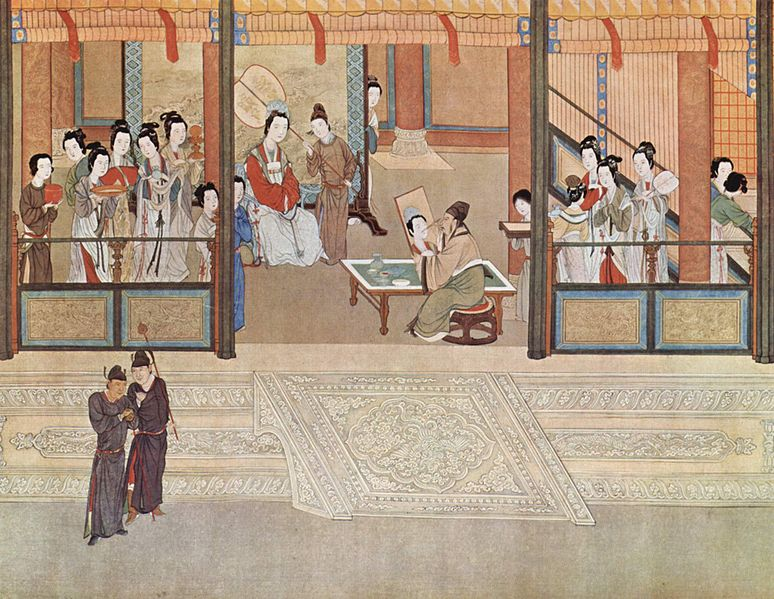 Spring morning in a Han palace, by Qiu Ying (1494–1552). The Ming dynasty grew rich with the silver trade.