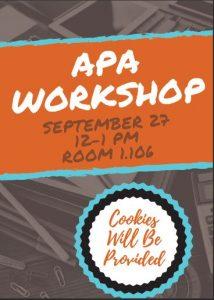 APA Workshop Flyer September 27th 12-1pm