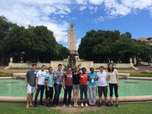 Summer scholars in front of the littlefield fountain on the UT campus