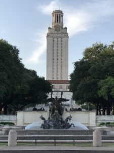 Photo of the fountain in front of the UT Tower