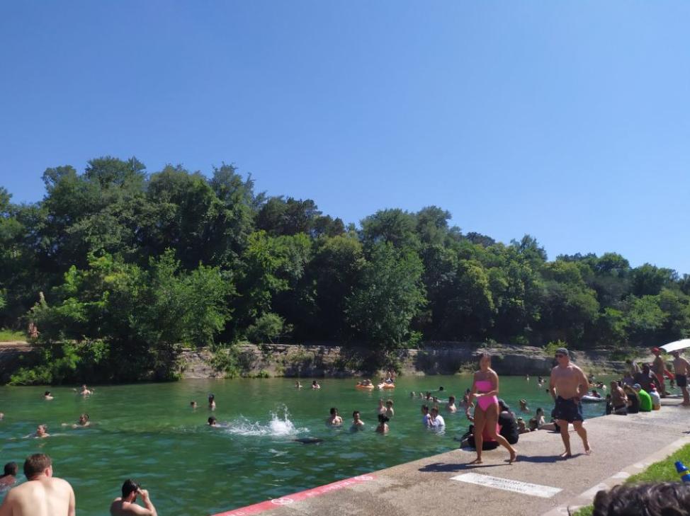 Students at barton springs pool