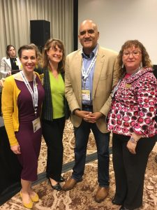 Lisa Loftus-Otway with her panel attendees, Melanie Bartlett Norrell of AECOM and Susanna Gallun, Transportation Consultant, along with fellow panelist Shailen Bhatt of ITS America.