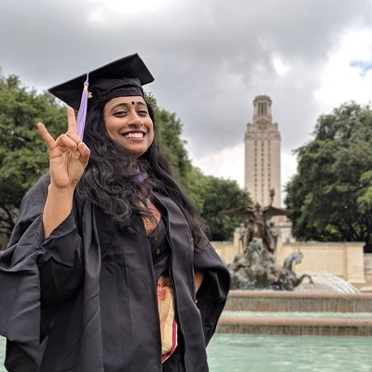 Sagnika Das at UT Austin Commencement