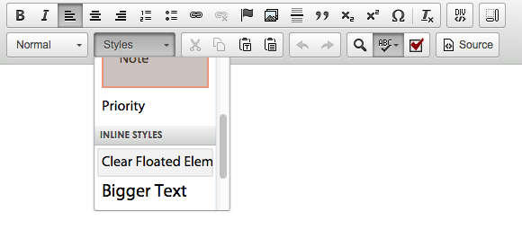 Clear Floated elements in the Styles Drop-down menu
