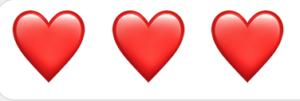 Three emoji hearts