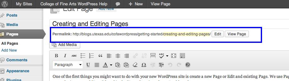 URL Web Address – College of Fine Arts WordPress Instruction