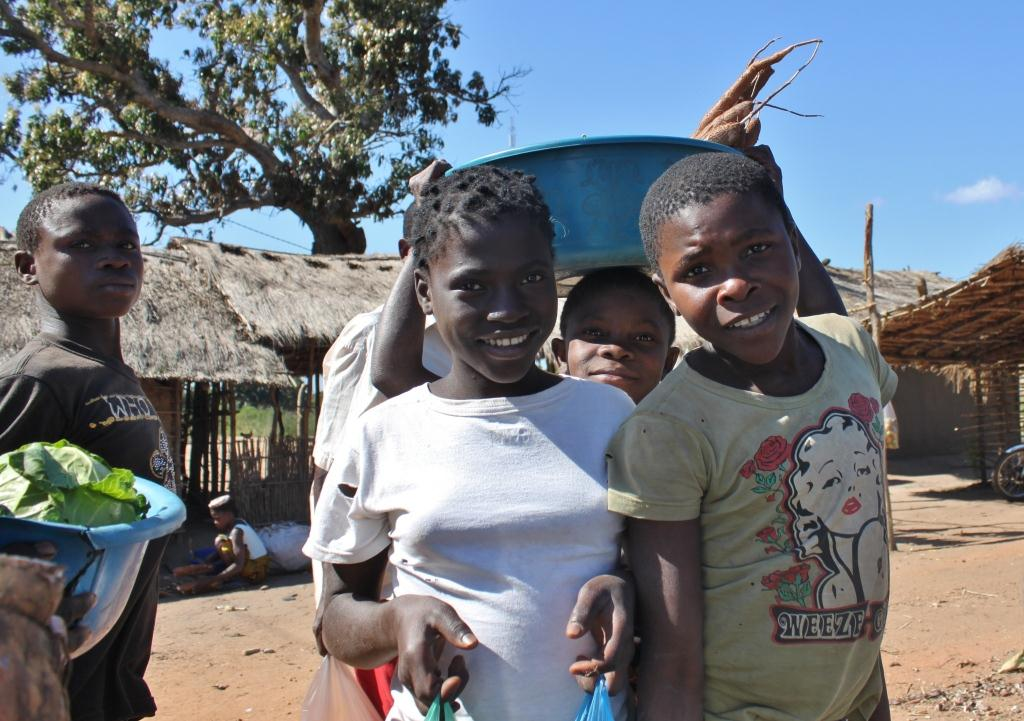 Youths in the small town of Mamudo, Mozambique