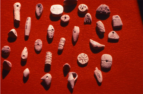 A variety of shaped and textured tokens