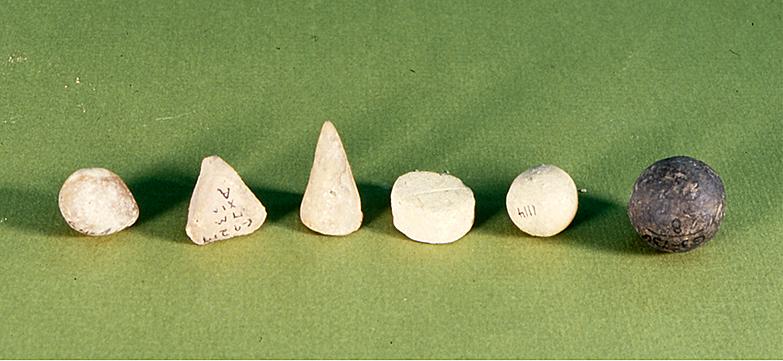 Three dimensional cones, spheres and discs.