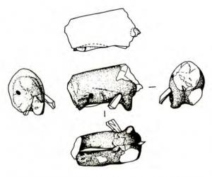 drawings of various stabbed figurines.