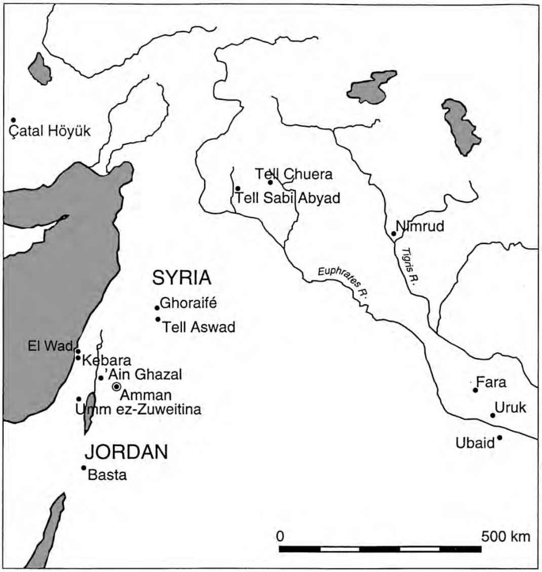 Map of sites in Jordan or Syria where Cattle and long-horned animals were also celebrated in early Neolithic assemblages.
